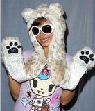 10 Styles Warm Winter Faux Animal Fur Hat Fluffy Plush Cap Dint Hood Scarf Shawl with Gloves Set Leopard Panda Hat Scarf Set - CelebritystyleFashion.com.au online clothing shop australia