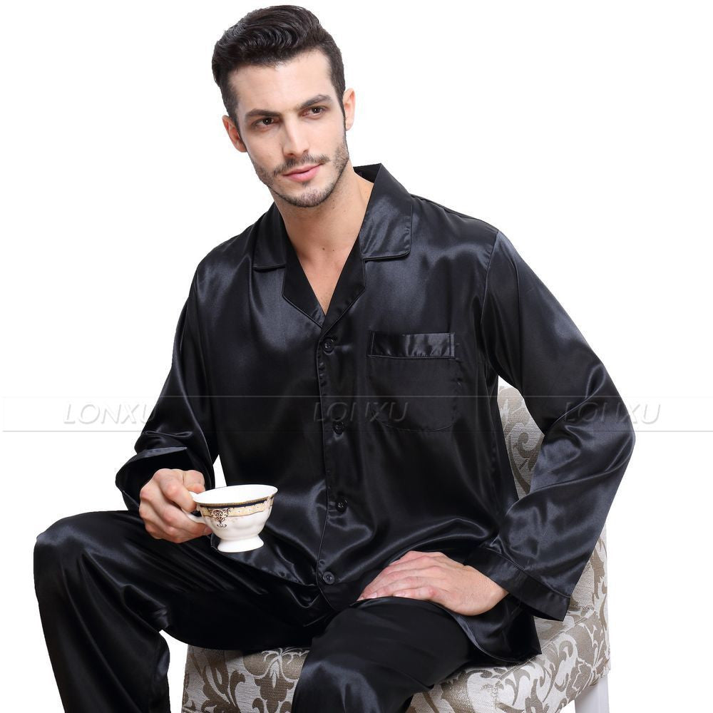fa1a011712 Mens Silk Satin Pajamas Set Pyjamas Set Pjs Sleepwear Loungewear -  CelebritystyleFashion.com.au