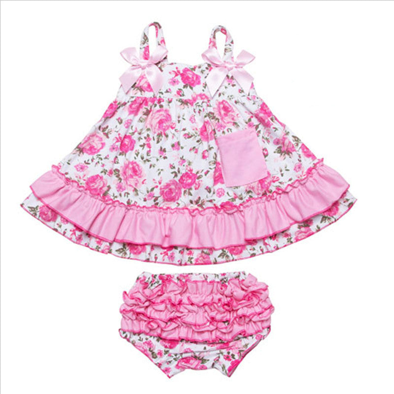 B / 7-9 monthsBaby Girl Clothes Dress Newborn Baby Girl Clothing Baby Body suits Sling Bat Roupas Body Bebes Next Baby Dress Set 2Pcs/set