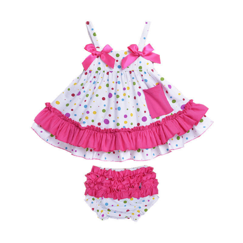 C / 19-24 monthsBaby Girl Clothes Dress Newborn Baby Girl Clothing Baby Body suits Sling Bat Roupas Body Bebes Next Baby Dress Set 2Pcs/set