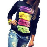 Thin Women Long Sleeve Fresh Hamburger Printed Tops Casual Hoodies Sweatshirt Tops - CelebritystyleFashion.com.au online clothing shop australia