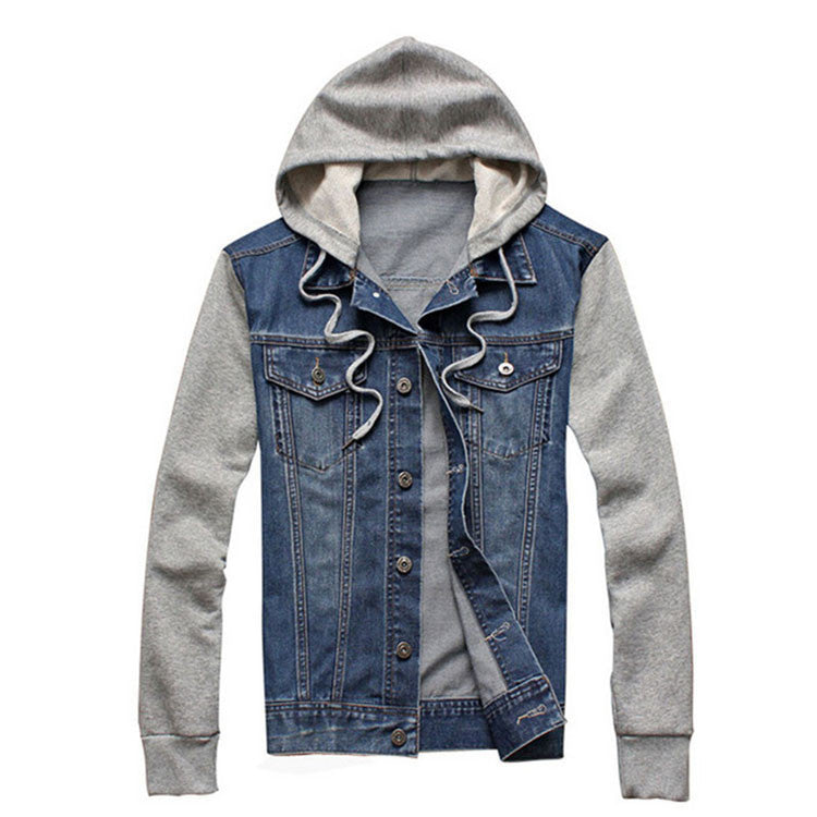 light blue / MDenim Jacket men hooded sportswear Outdoors Casual fashion Jeans Jackets Hoodies Cowboy Mens Jacket and Coat Plus Size 4XL 5XL