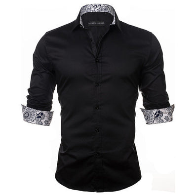 Men's Shirt Dress Fashion Mens Shirts Casual Style Long Sleeve Solid Cotton Slim Fit Dress Male Shirts N780 - CelebritystyleFashion.com.au online clothing shop australia