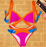 New Swimsuit Summer Sexy Bikini Dynamic Bordered Color Bandage Brand Gini Bikinis Set Swimwear Brazilian Biquini Plus Size - CelebritystyleFashion.com.au online clothing shop australia