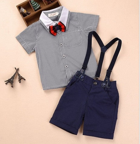 Beige / 4T3 pieces summer boys clothing sets gentleman set baby boy clothes shirt and suspender trousers
