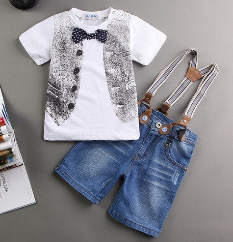 Khaki / 2T3 pieces summer boys clothing sets gentleman set baby boy clothes shirt and suspender trousers