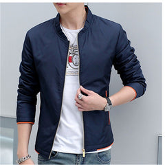 Men's Windbreaker Jackets New Stand Collar Long Sleeve Slim Fit Solid Spring and Autumn Casual Man Outwear Size 4XL N524 - CelebritystyleFashion.com.au online clothing shop australia
