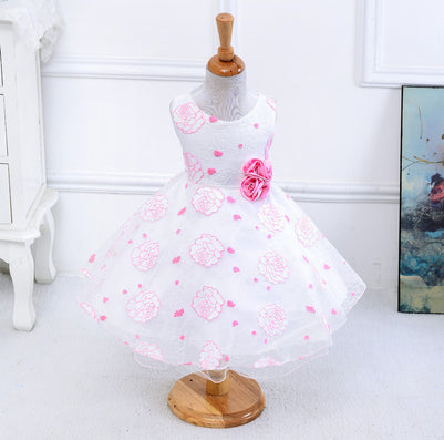 Summer new arrival flower princess girl dresses,baby girl party dress with flower 5 colors suit for 2-5 years S001 - CelebritystyleFashion.com.au online clothing shop australia
