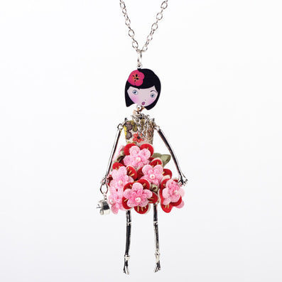Bonsny doll Necklace Dress Trendy Long Chain New Acrylic Alloy For Girl Women Red Flower Figure Fashion Jewelry Accessories - CelebritystyleFashion.com.au online clothing shop australia
