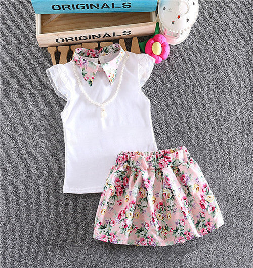 pink / 13-18 monthsBaby Girl Clothes cotton Clothes set 2 pcs Toddler floral necklace short sleeves shirt + skirt suit Baby clothes set 7-24Mo