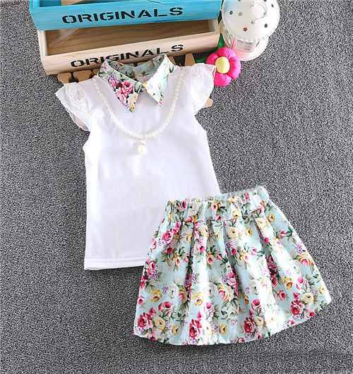 Baby Girl Clothes cotton Clothes set 2 pcs Toddler floral necklace short sleeves shirt + skirt suit Baby clothes set 7-24MogreenCELEBRITYSTYLEFASHION