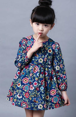 2-8 Ages Girls Dress Casual Long Sleeves Flower Princess Girl Dresses Summer Autumn Toddler Girl Clothing - CelebritystyleFashion.com.au online clothing shop australia