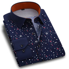 New Spring Men Casual Shirts Fashion Long Sleeve Brand Printed Button-Up Formal Business Polka Dot Floral Men Dress Shirt - CelebritystyleFashion.com.au online clothing shop australia