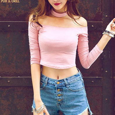 choker top crop top long sleeve bustier off shoulder women white cropped feminino pink high Neck cotton fitness tank shirts - CelebritystyleFashion.com.au online clothing shop australia