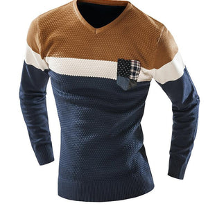 Men'S Fashion Mixed Colors Sweater Men Leisure Slim Pull Homme V-Neck Long-Sleeved Sweater Solid Sweater Sweater Men XXL KF - CelebritystyleFashion.com.au online clothing shop australia