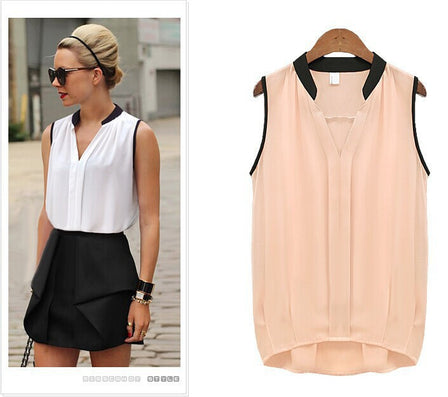 New Summer Fashion Solid Chiffon Women Blouses O-Neck Sleeveless Sexy Shirt Casual Tops Clothing Blusas - CelebritystyleFashion.com.au online clothing shop australia