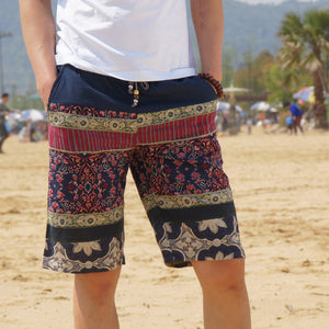 Men's linen shorts personality ethnic style color stitching summer new leisure wild men loose floral beach shorts M-5XL - CelebritystyleFashion.com.au online clothing shop australia