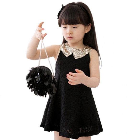 95a549a860 New Fashion Girls Clothes Tutu Dress Kids Clothing Princess Baby Girl Dress  Sequins Collar Black White Party Dresses
