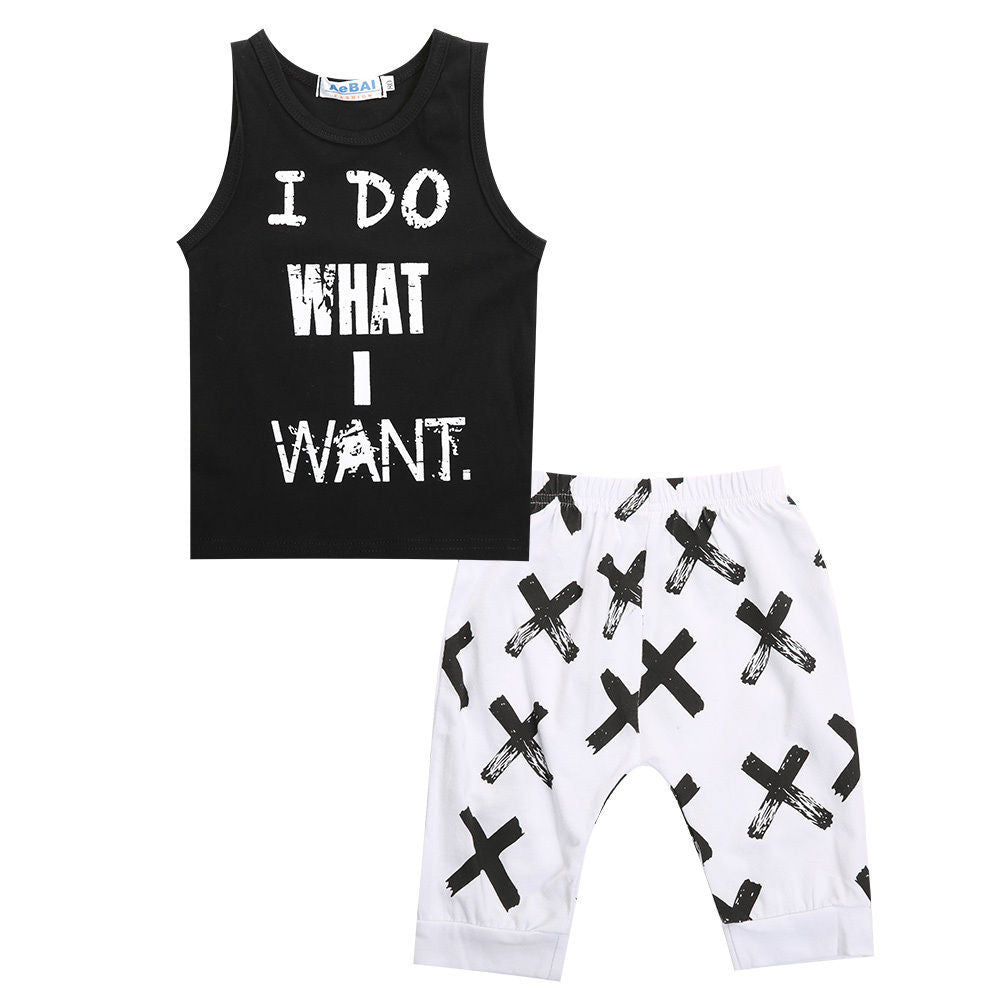 Black / 2T2pcs Lovely Toddler Baby Boys Clothes Sets Cotton Tops Vest Tee T-Shirts + Short pants Shorts Letter Black 2pcs Outfits Boy