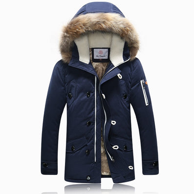 Winter Brand Men Down Jacket Fur Hood With Cashmere Plus Size XXXL Winter Jacket High Quality Fashion Men's Coat - CelebritystyleFashion.com.au online clothing shop australia