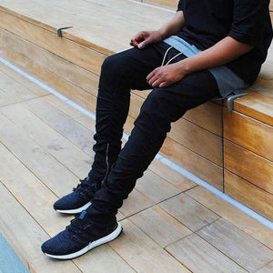 Mens Pants Side Zipper Men Slim Fear Of God Boost Casual Kanye West Trousers Elastic Harem Pant - CelebritystyleFashion.com.au online clothing shop australia