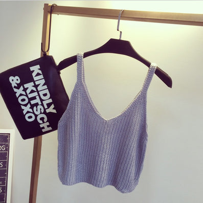 New Summer Sexy Women Crochet Bralette Knitting Cotton White Cropped Black Women Casual Crop Top Vest Tank Tees - CelebritystyleFashion.com.au online clothing shop australia