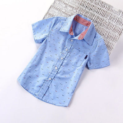 Children boys brand fashion kids cotton cloth short-sleeved shirts,Fit for 3-10 years kids boys - CelebritystyleFashion.com.au online clothing shop australia