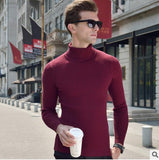 Winter turtleneck sweater male thickening slim sweater pure wool sweater basic polo-necked collar shirt - CelebritystyleFashion.com.au online clothing shop australia