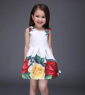 new summer girls dress white designer brand new children clothing rose flower princess wedding party Lace girl clothes - CelebritystyleFashion.com.au online clothing shop australia