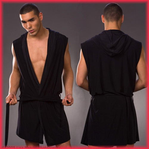 Black / MMen's robes comfortable casual bathrobes sleeveless Viscose sexy Hooded robe homewear mens sexy sleepwear lounge clothes