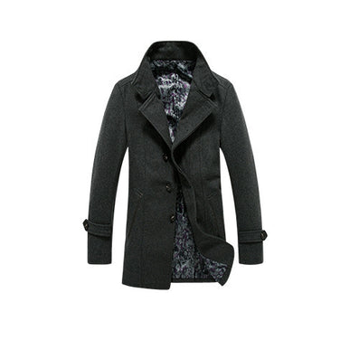 Brand Winter Mens Coat Wool Blend Long Solid Mens Clothing Fashion Casual Mens Blend GQ16-537 - CelebritystyleFashion.com.au online clothing shop australia