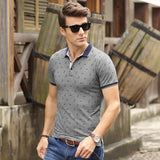 Short Sleeve Mens Polos Homme Turn Down white Collar Tops Cotton Dot Brand Fashion Striped xxxl Solid Clothing - CelebritystyleFashion.com.au online clothing shop australia