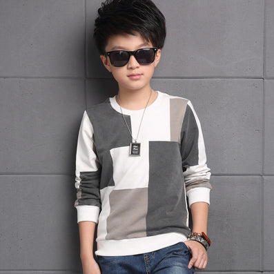 Plaid T-Shirts For Boys Clothing Children Tops 5 9 11 13 Years Long Sleeve School Boys Tees Cotton Casual Teenager Clothes - CelebritystyleFashion.com.au online clothing shop australia