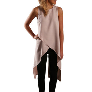 Women Ladies Sexy Asymmetrical Cut Out High Low Tank Tops Summer Casual Loose Beach Bandage Vest Tee Shirts Z1 - CelebritystyleFashion.com.au online clothing shop australia