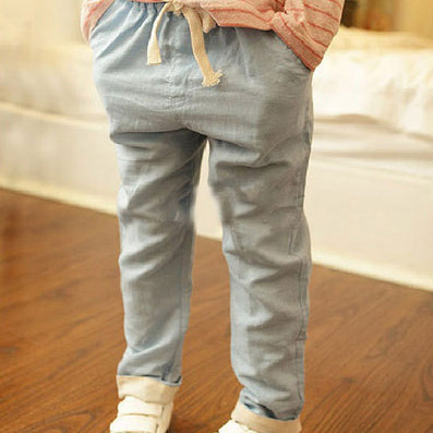 Children Linen Candy Color Pants Big Boys & Girls Summer Breathable Hemp Trousers Kids Drawstring Joggers, YC057 - CelebritystyleFashion.com.au online clothing shop australia