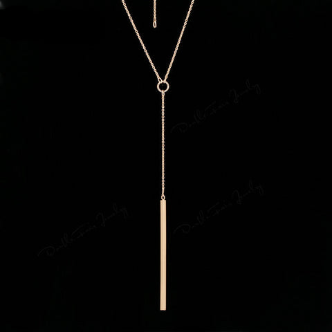 Double Fair Anti Allergy Y Style Chain Long Necklaces & Pendants Rose Gold Plated Strip Bar Jewelry For Women DFN601 - CelebritystyleFashion.com.au online clothing shop australia
