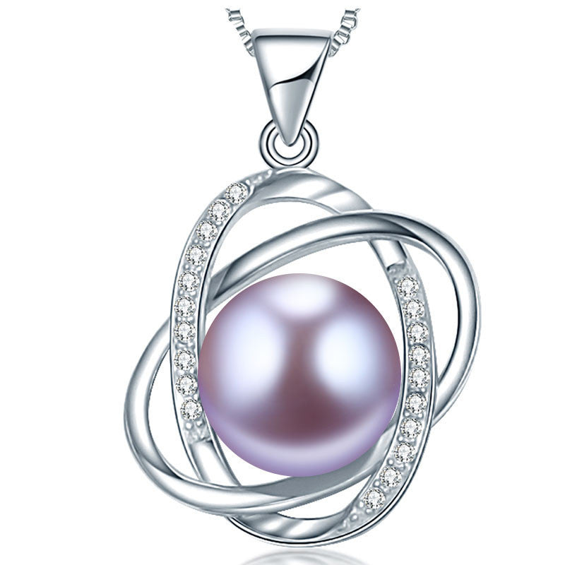 Purple10-11mm Natural Pearl pendant necklace top quality 925 silver necklace & pendant for women love gift new fine jewelry