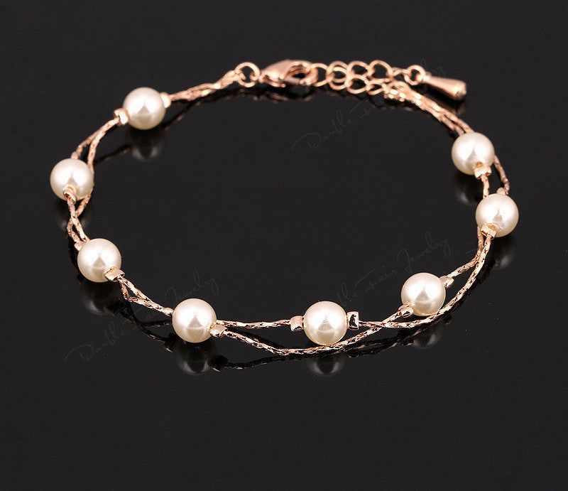 Rose Gold Plated / Pearl Beads / United StatesDouble Fair Charm Bracelets & Bangles Platinum/Rose Gold Plated Fashion Simulated Pearl Beads Wedding