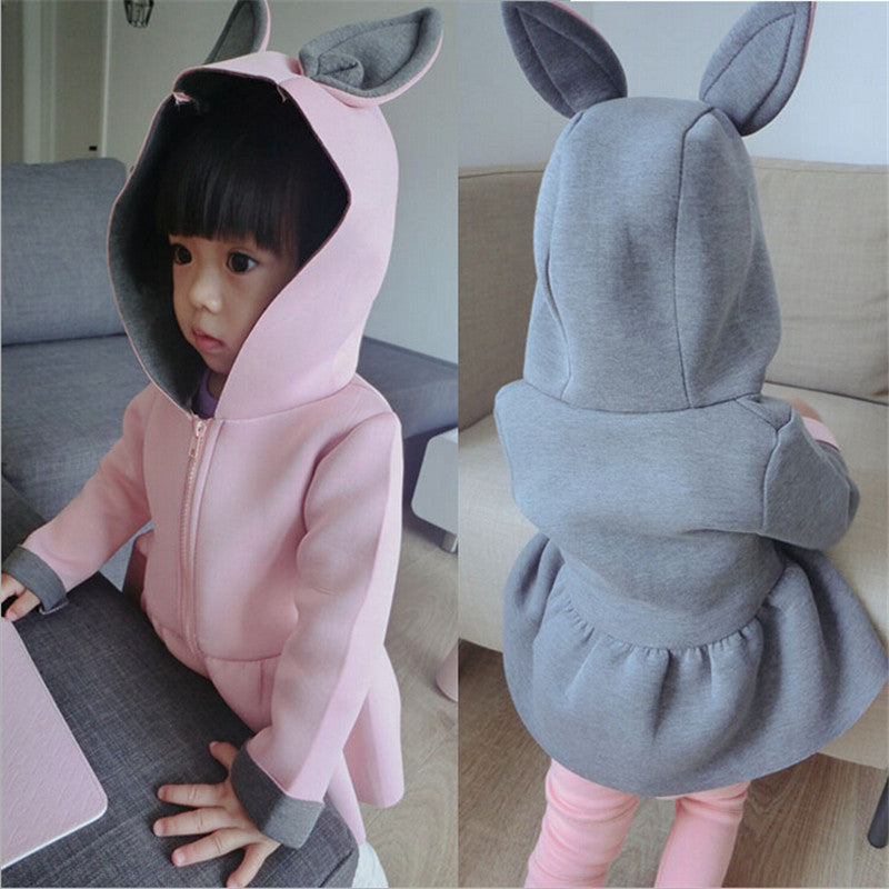 Gray / 4T1-7T Toddler girls jacket animal rabbit design cotton spring autumn baby girl coat children jackets kids coat for girls clothing
