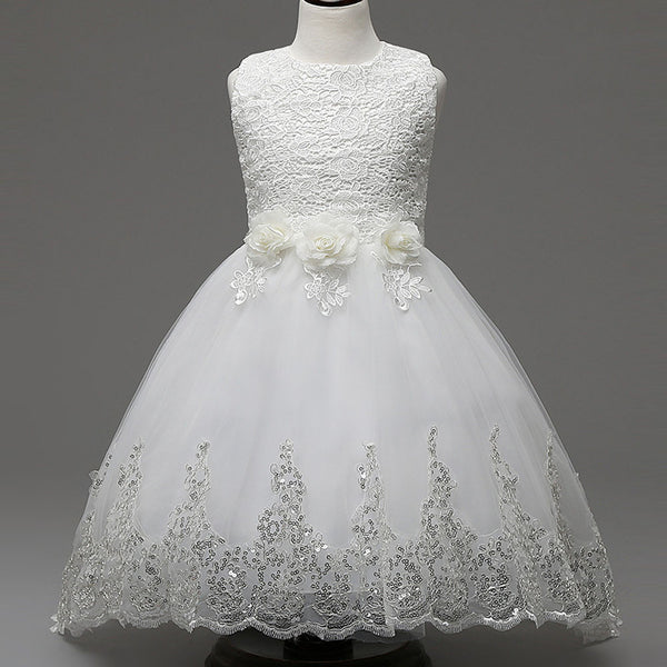 28da7ad42 Princess Flower Girl Dress For Wedding Party High Quality Bridesmaid Kids  Bow Sleeveless Trailing Lace Tulle