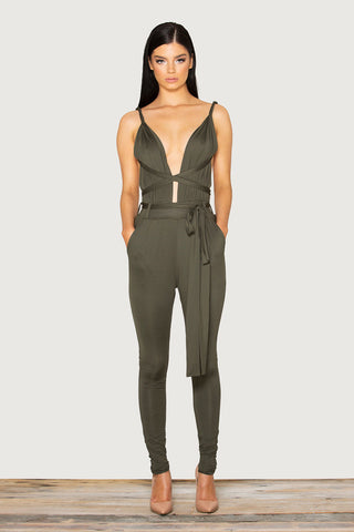Jumpsuit Sleeveless Spaghetti Strap Deep V Neck Bodycon Playsuit - CelebritystyleFashion.com.au online clothing shop australia
