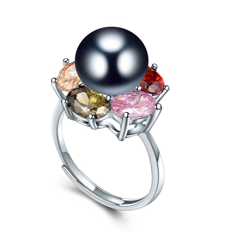 Resizable / black pearlColorful Flower Wedding Rings High Quality 925 Sterling Silver Jewelry Natural Big Pearl Adjustable Rings For Women