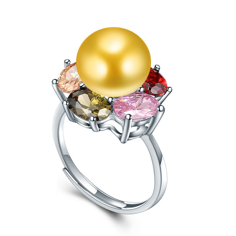 Resizable / gold pearlColorful Flower Wedding Rings High Quality 925 Sterling Silver Jewelry Natural Big Pearl Adjustable Rings For Women