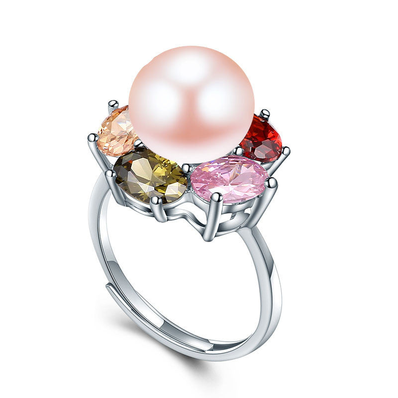 Resizable / pink pearlColorful Flower Wedding Rings High Quality 925 Sterling Silver Jewelry Natural Big Pearl Adjustable Rings For Women
