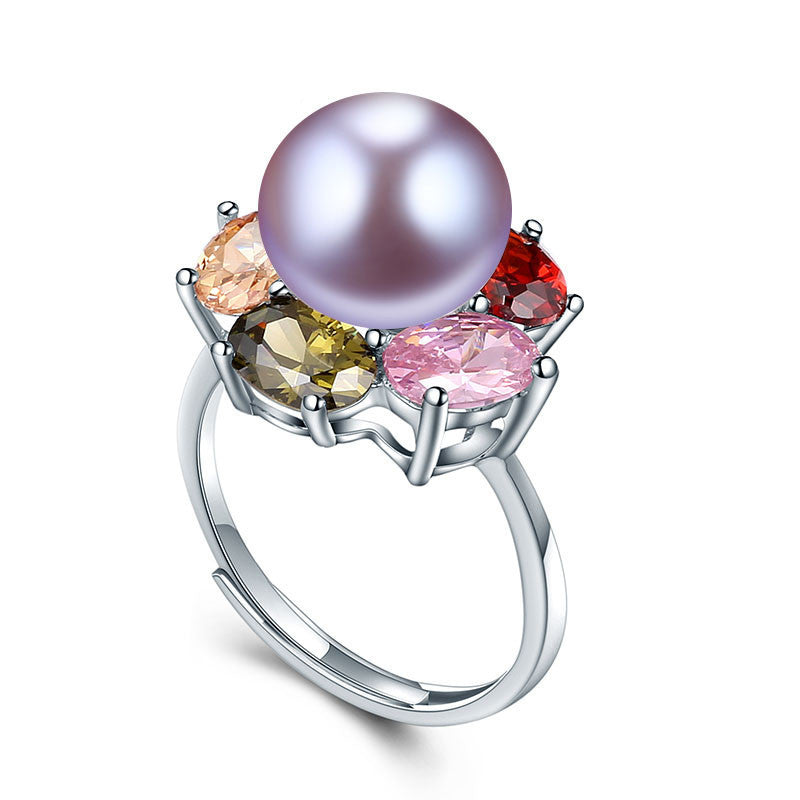 Resizable / purple pearlColorful Flower Wedding Rings High Quality 925 Sterling Silver Jewelry Natural Big Pearl Adjustable Rings For Women