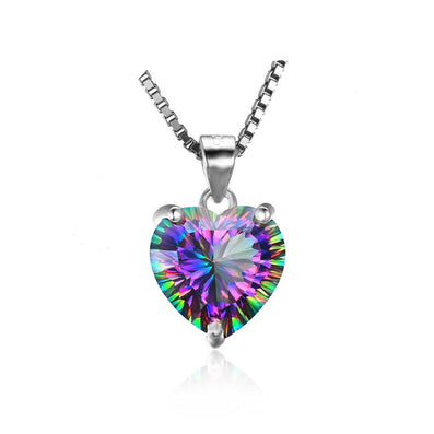 4ct Genuine Rainbow Fire Mystic Topaz Pendant Solid 925 Sterling Silver Vintage Jewelry Heart Pendant Brand New - CelebritystyleFashion.com.au online clothing shop australia