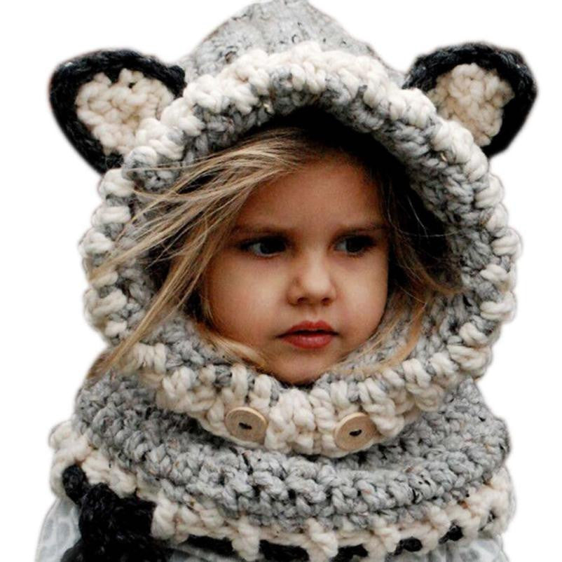 59ff58470a207f Lovely New Design Kids Winter Warm Knitted Hats Fox Design Children Shawl  Hooded Cowl Beanie Girls