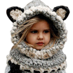 Lovely New Design Kids Winter Warm Knitted Hats Fox Design Children Shawl Hooded Cowl Beanie Girls Neck Wrap & Scarf Hat Cap NO4 - CelebritystyleFashion.com.au online clothing shop australia