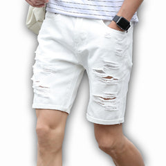 Mens Denim Shorts Slim Regular Casual Knee Length Short Hole Jeans Shorts For Men New Summer White Blue - CelebritystyleFashion.com.au online clothing shop australia