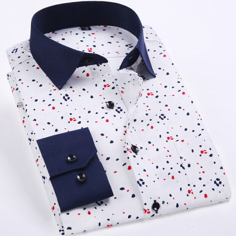 Men Shirt Long Sleeve Causal Dress Mens Shirts Mens Clothes Camisa Masculina Print Shirt Fashione New - CelebritystyleFashion.com.au online clothing shop australia